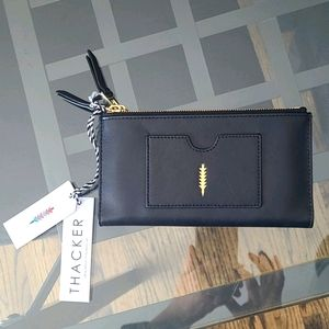 NWT Anthropologie black/gold Italia leather wallet